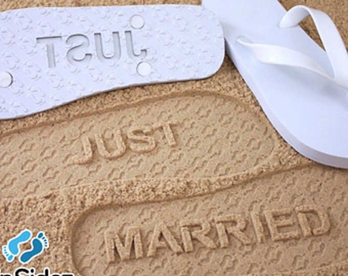 71420d166 Just Married Flip Flops - Custom Sand Imprint Sandals for Beach Weddings