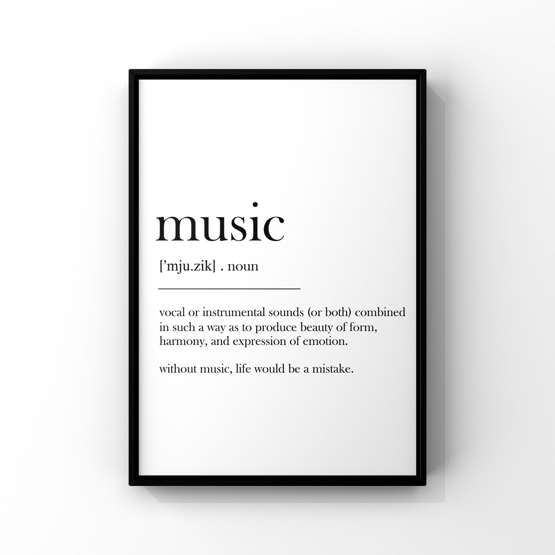Music Definition Printdefinition Postermusic Wall Artmusic Etsy Music Wall Art Music Wall Music Print