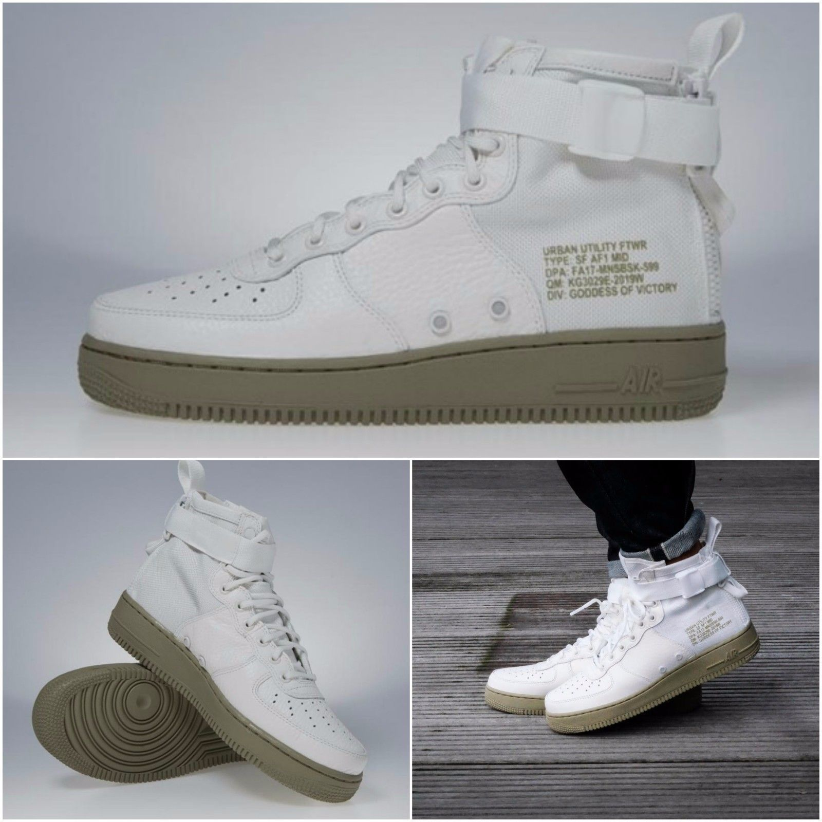 NIKE AIR FORCE ONE AF1 MID IVORY NEUTRAL OLIVE BOOTS 917753 101   nikesportswear  nikeair 94bdfa4a182