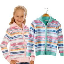 Cardigan Turtleneck Thick Cotton  Striped Girl Knitted Sweaters