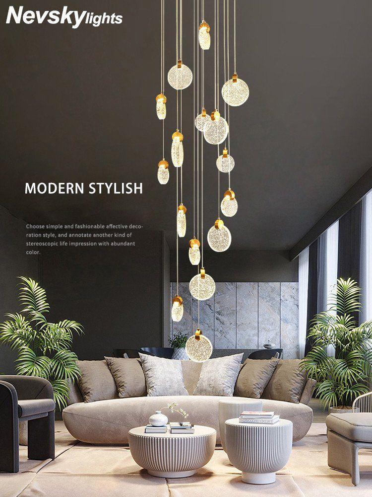 Modern Pendant Lighting For Living Room Modern Pendant Lamp For Stairwell Led Hanging Light For Hall Pendant Li In 2020 Disk Chandelier Staircase Chandelier Chandelier