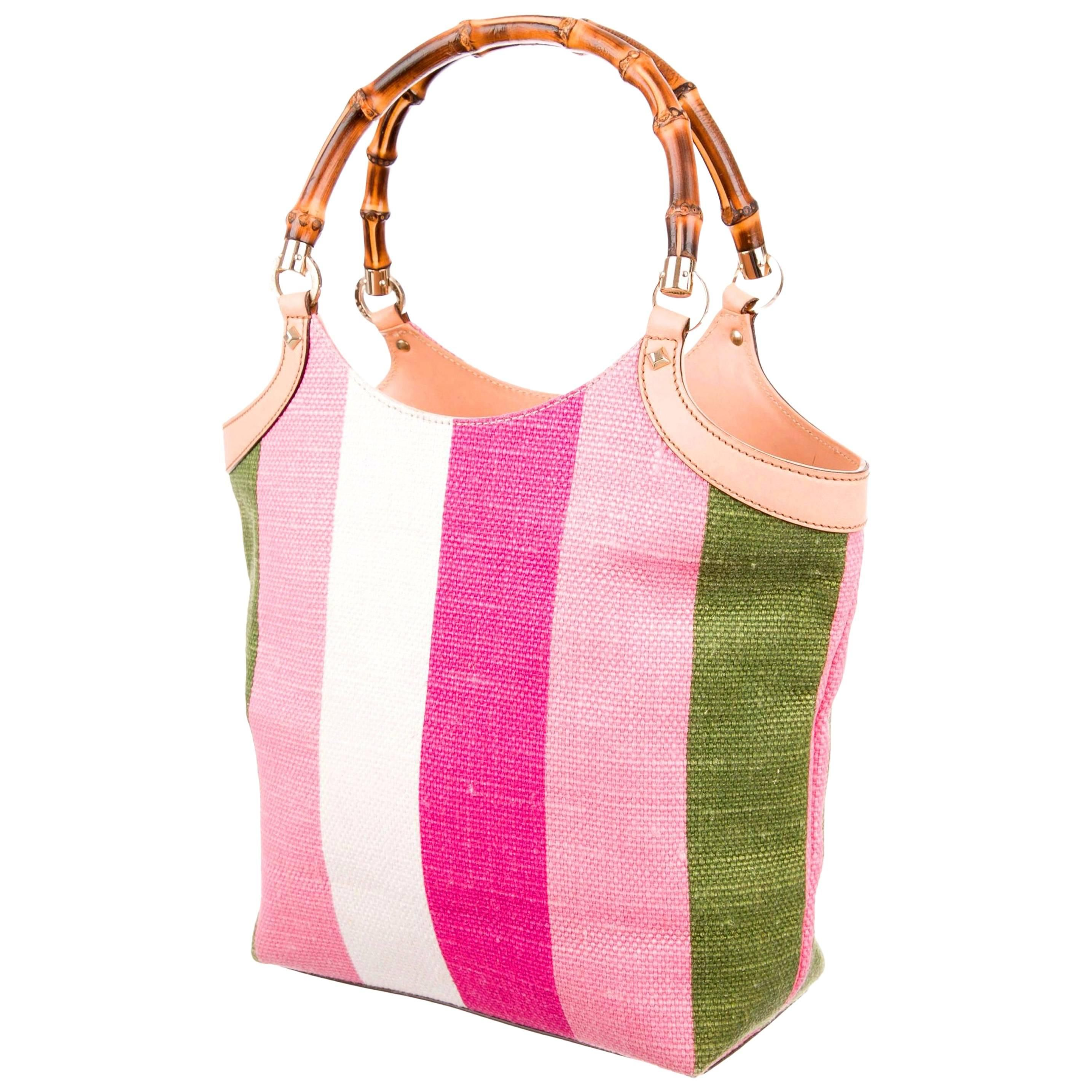 62996ee05238 Gucci Striped Baiadera Canvas and Leather Bamboo Handbag Bag Tote For Sale  at 1stdibs
