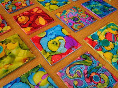 Alcohol-based ink on tiles--might be fun to do this with Freya to make coasters as Christmas presents!