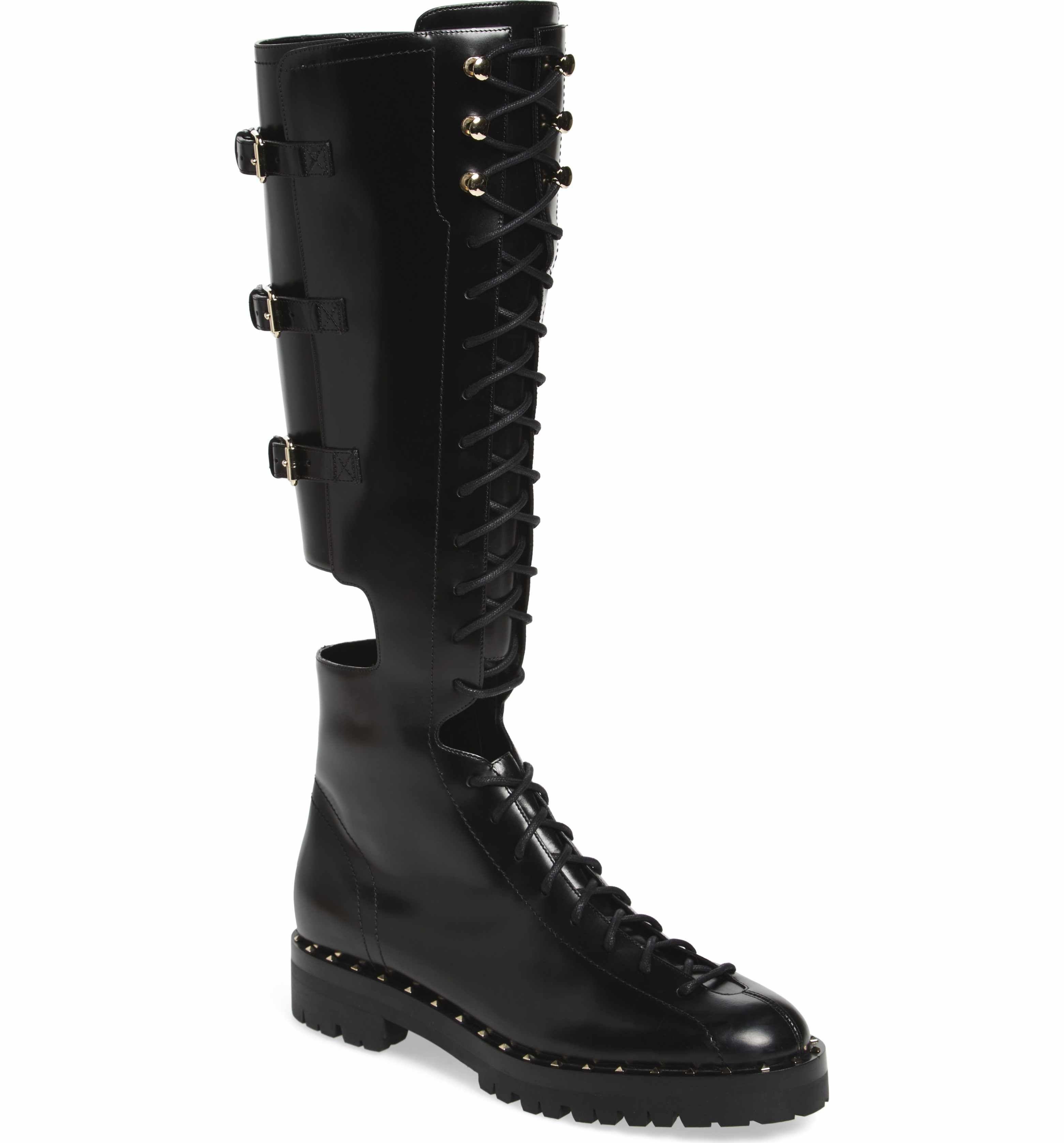 bed09ecb95a Main Image - VALENTINO GARAVANI Soul Rockstud Knee High Cutout Boot (Women)