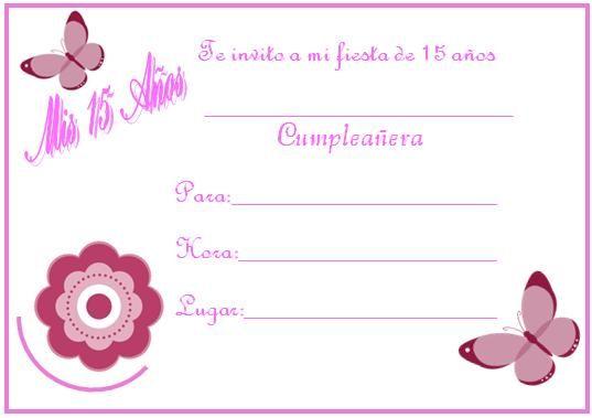 Tarjetas De Invitación Para Fiesta De 15 Años Invitaciones 15 Años