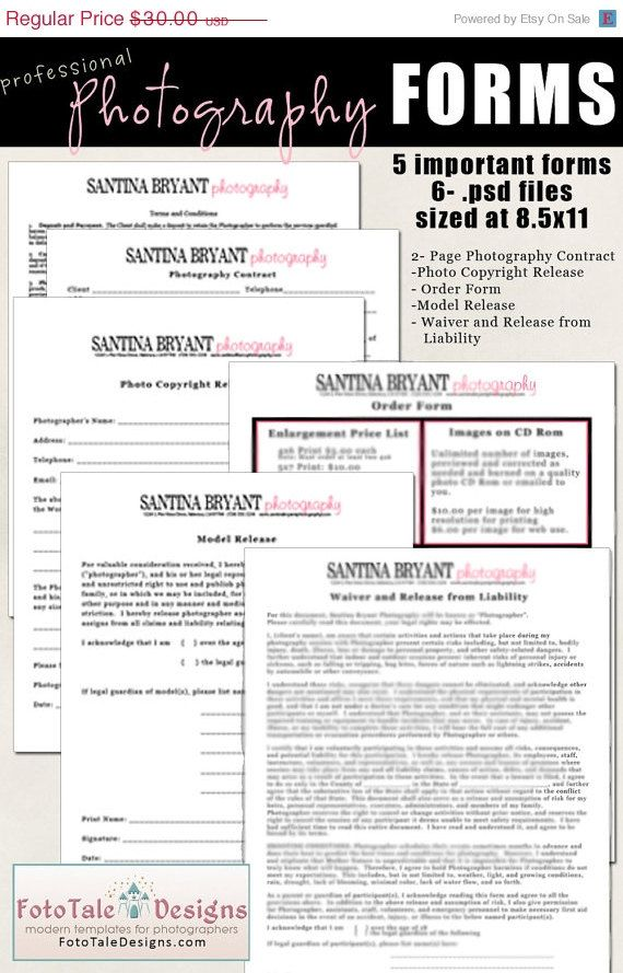 SALE- Christmas in July Professional Photography Forms- Contract - photography copyright release form
