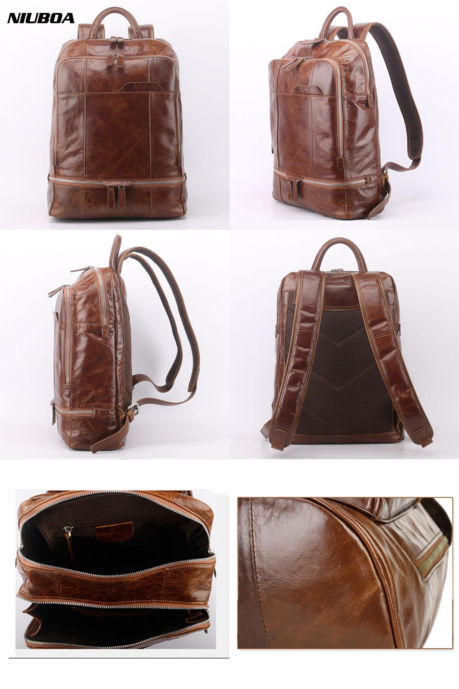 Visit to Buy] NIUBOA Genuine Leather Backpack Men High Quality ...
