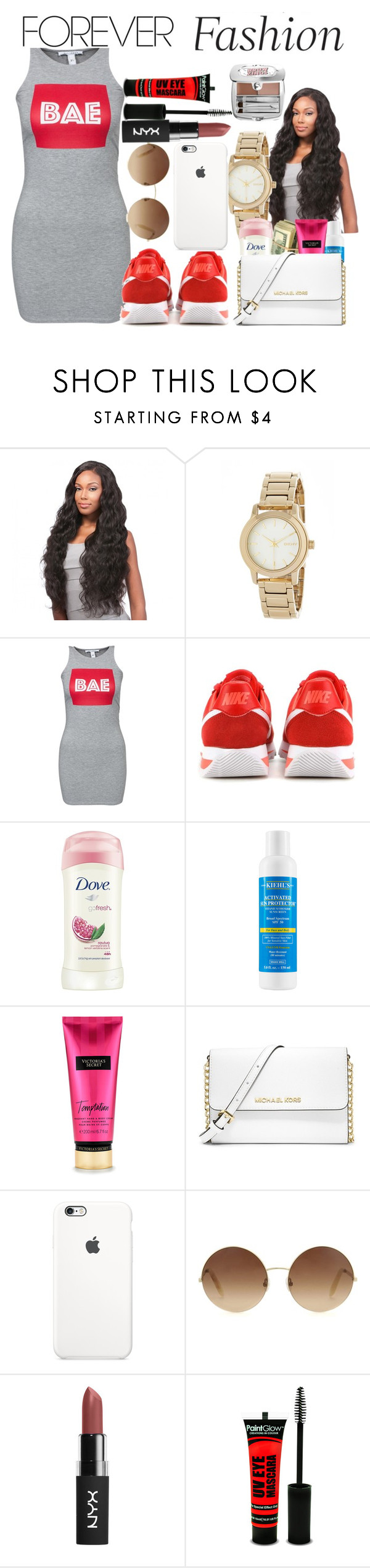 """""""8/10/16"""" by ayana-charm ❤ liked on Polyvore featuring DKNY, NLY Trend, NIKE, Dove, Kiehl's, MICHAEL Michael Kors, Victoria Beckham and Benefit"""