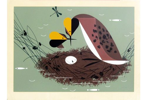 Horned Grebe Serigraph — The Charley Harper Gallery - Superior Service on the Web!