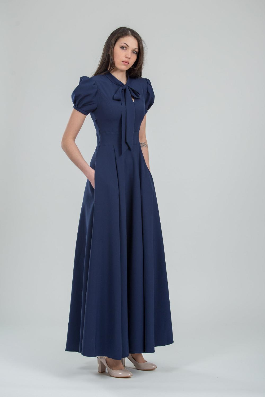 Schicke Marine formale Kleid lange blaue Brautjungfer Kleid Abend