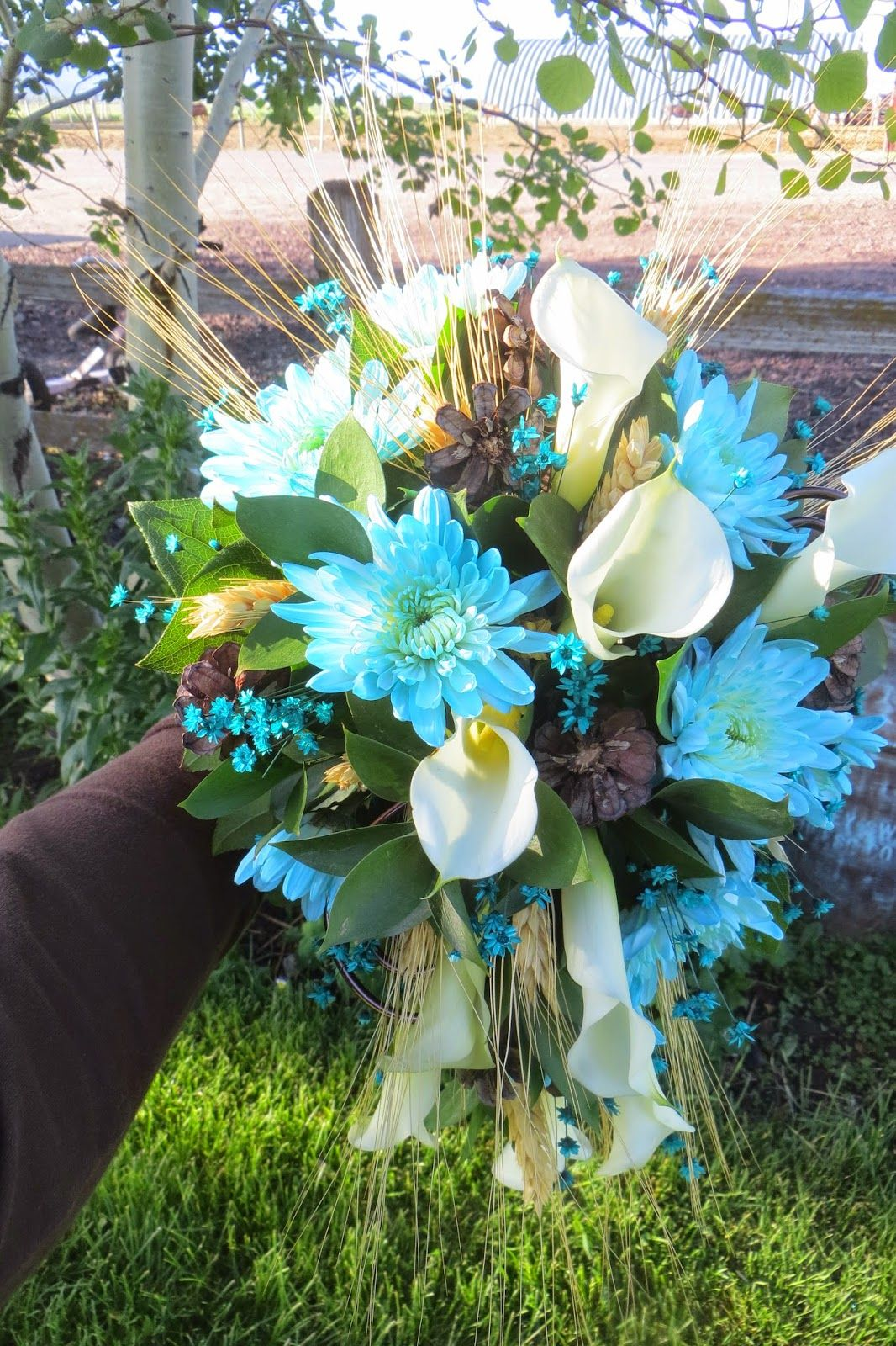 Country Wedding | Sweet Williams Floral, bridal bouquet, teal, brown