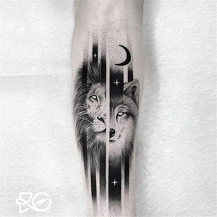 53 Cool Animal Tattoo Ideas Tatuagens Aleatorias Tatuagem India Com Lobo Lobo Tatuagem
