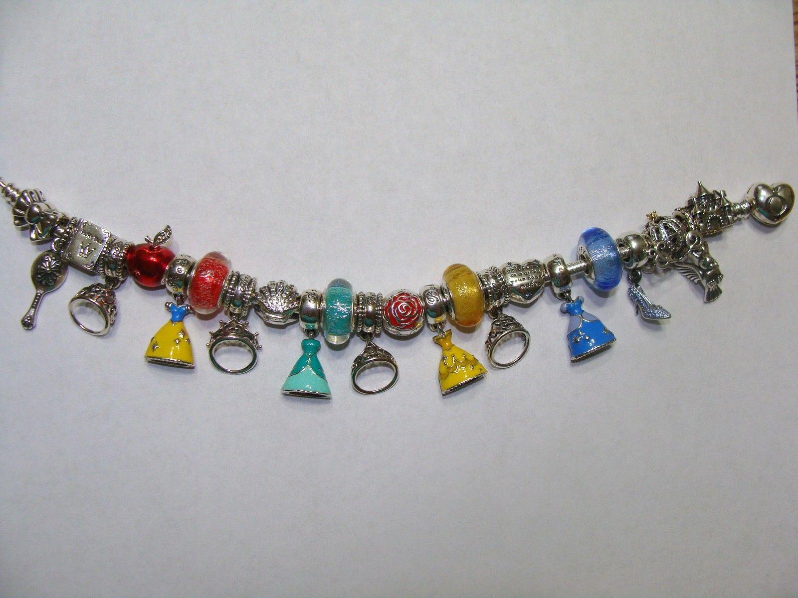 Pandora Disney Princess 23 Charms With Heart Clasp Bracelet 7.5/19 ...