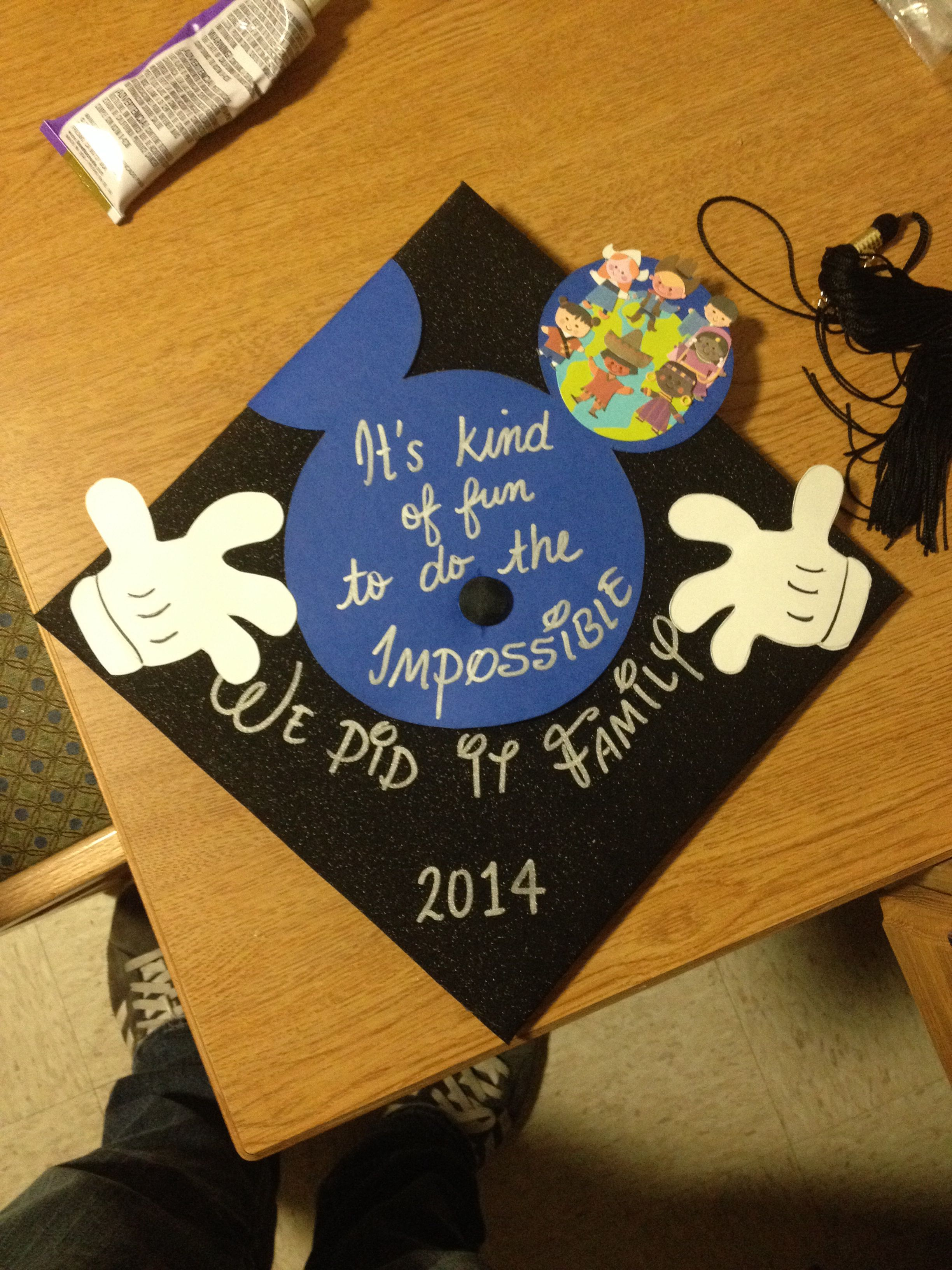 """Disney inspired graduation cap """"it is kind of fun to do"""