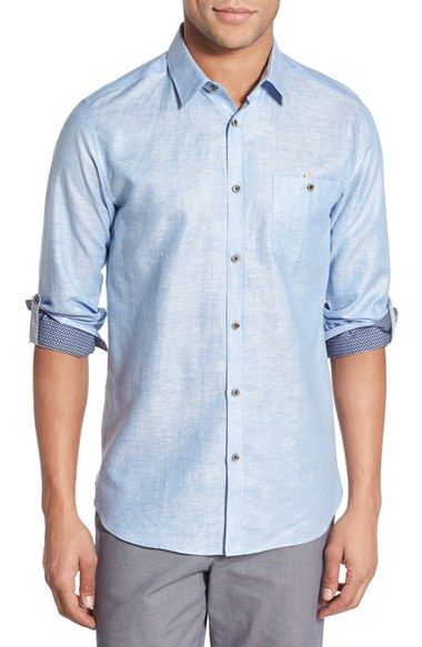 Ted Baker London 'Linoo' Modern Slim Fit Linen Blend Sport Shirt available at #Nordstrom
