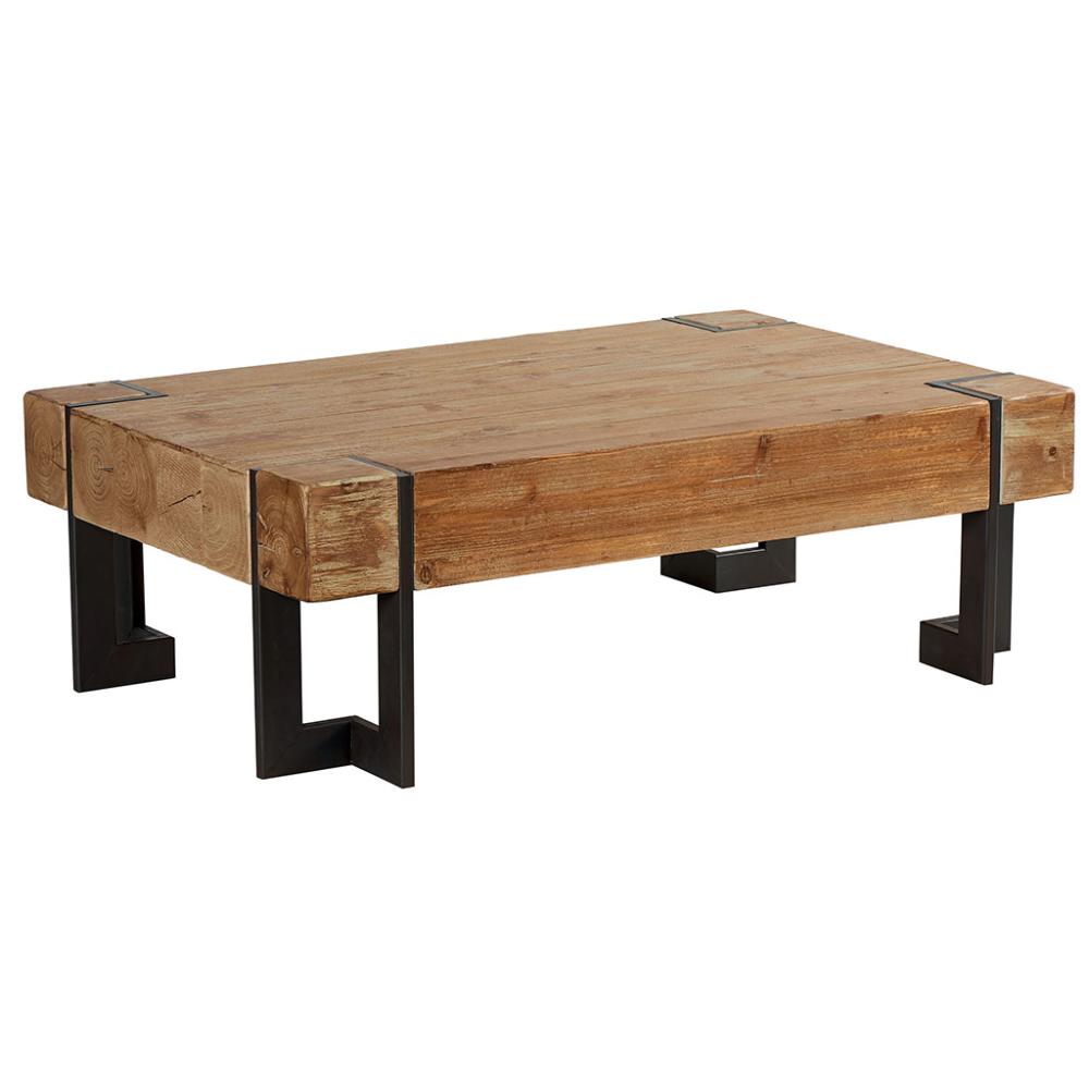 Le Style Industriel De La Table Basse Rectangulaire Fabrik En Bois Brut Table Basse Table Basse Bois Brut Table Basse Fer Et Bois