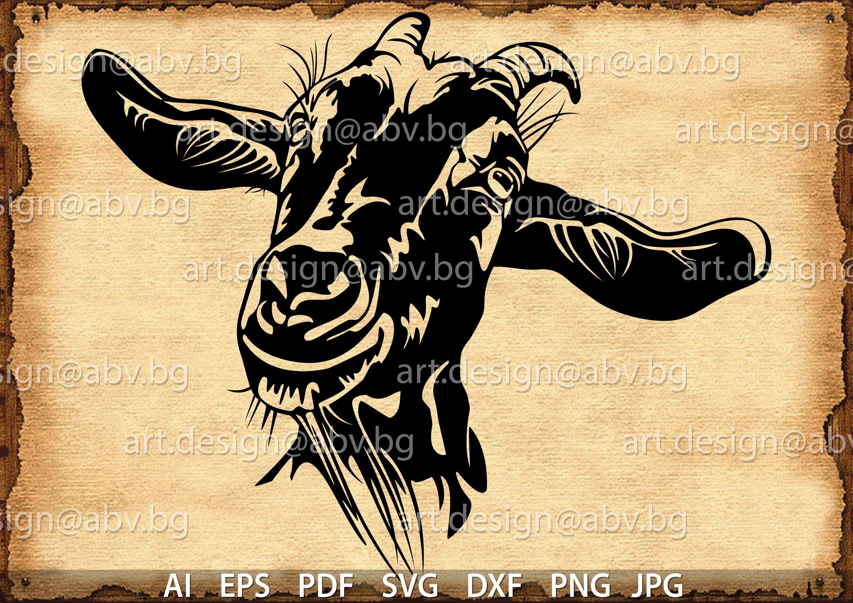 Vector Goat Head Ai Png Eps Pdf Svg Dxf Jpg Instant Etsy Art Prints Art Goats