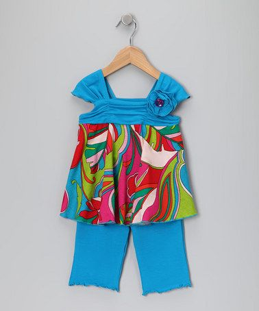 Take a look at this Turquoise Floral Tunic & Capri Pants - Infant, Toddler & Girls by Mack & Co on #zulily today!