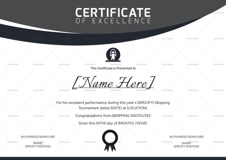 Skipping Excellence Certificate Design Template Excellence