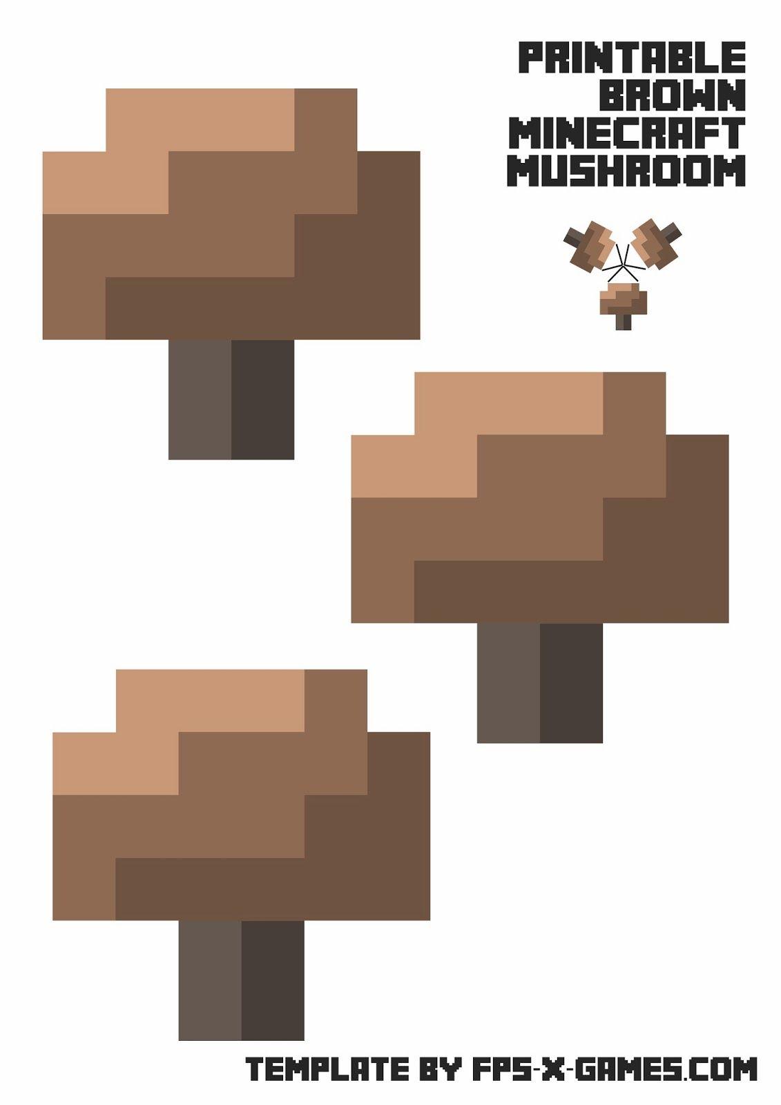 printable papercraft template minecraft mushroom minecraft
