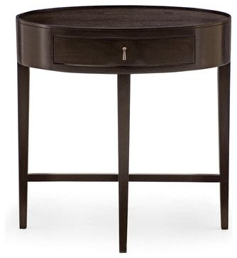 Bernhardt Haven Oval Shaped Nightstand In Raven Contemporary