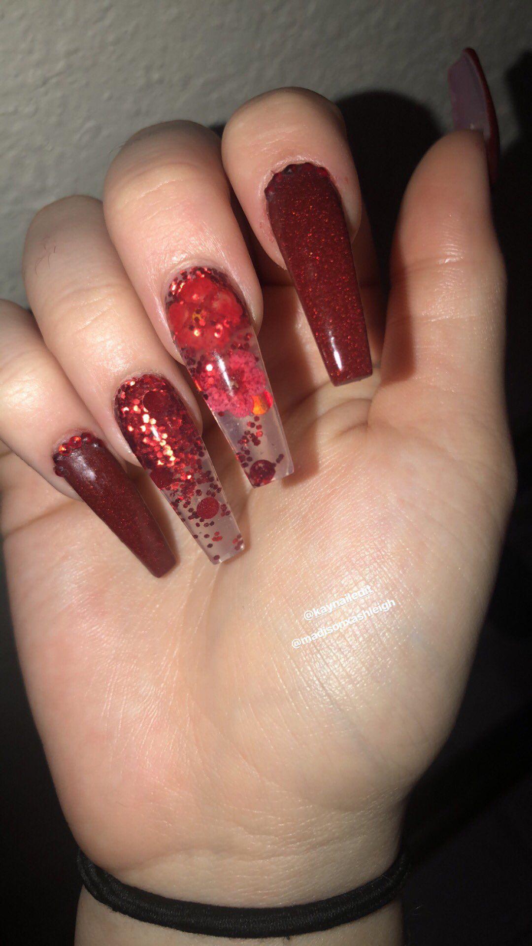 Lilshawtybad Graduation Nails Red Nails Glitter Transparent Nails