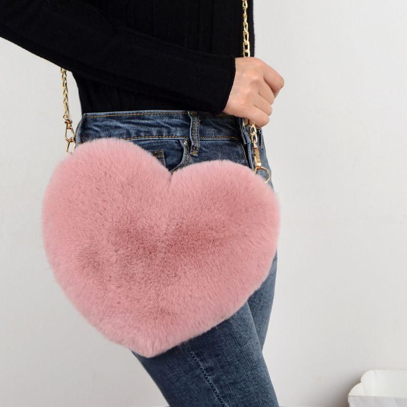 Photo of Fashion Women's Heart Shaped Faux Fur Crossbody Wallet Purse Chain Shoulder Bag Lady Handbag – Beige