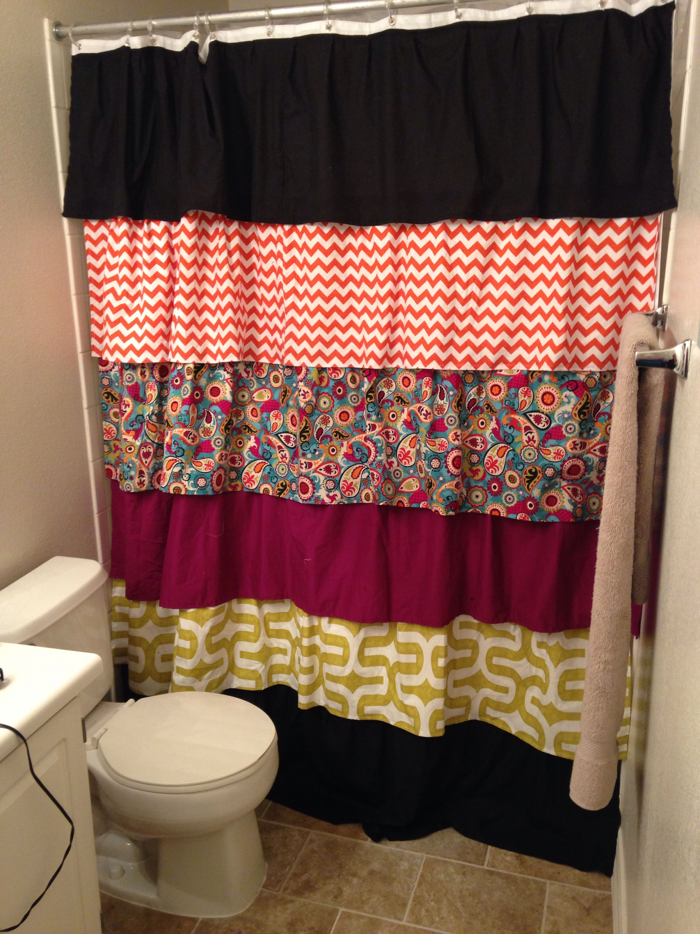 Diy ruffled shower curtain - Diy Ruffled Shower Curtain First Sewing Project Was A Success