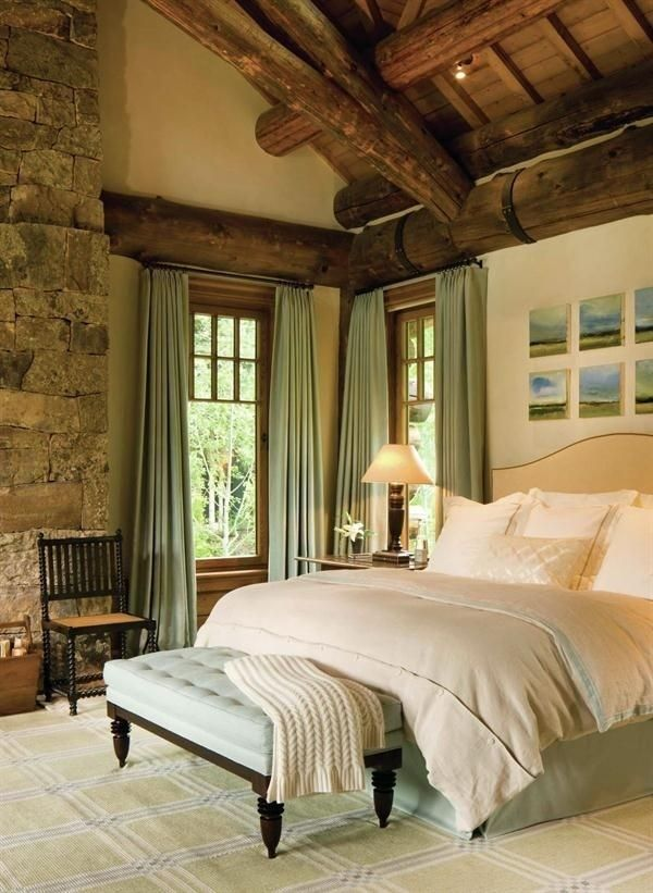 Love this bedroom Wood ceiling stone fireplace