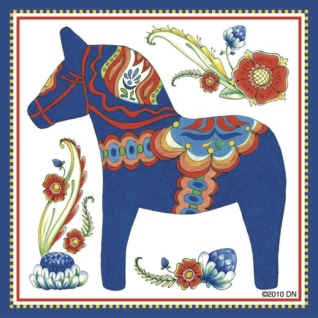 Dala Horse Decorative Magnet Tile (Blue)