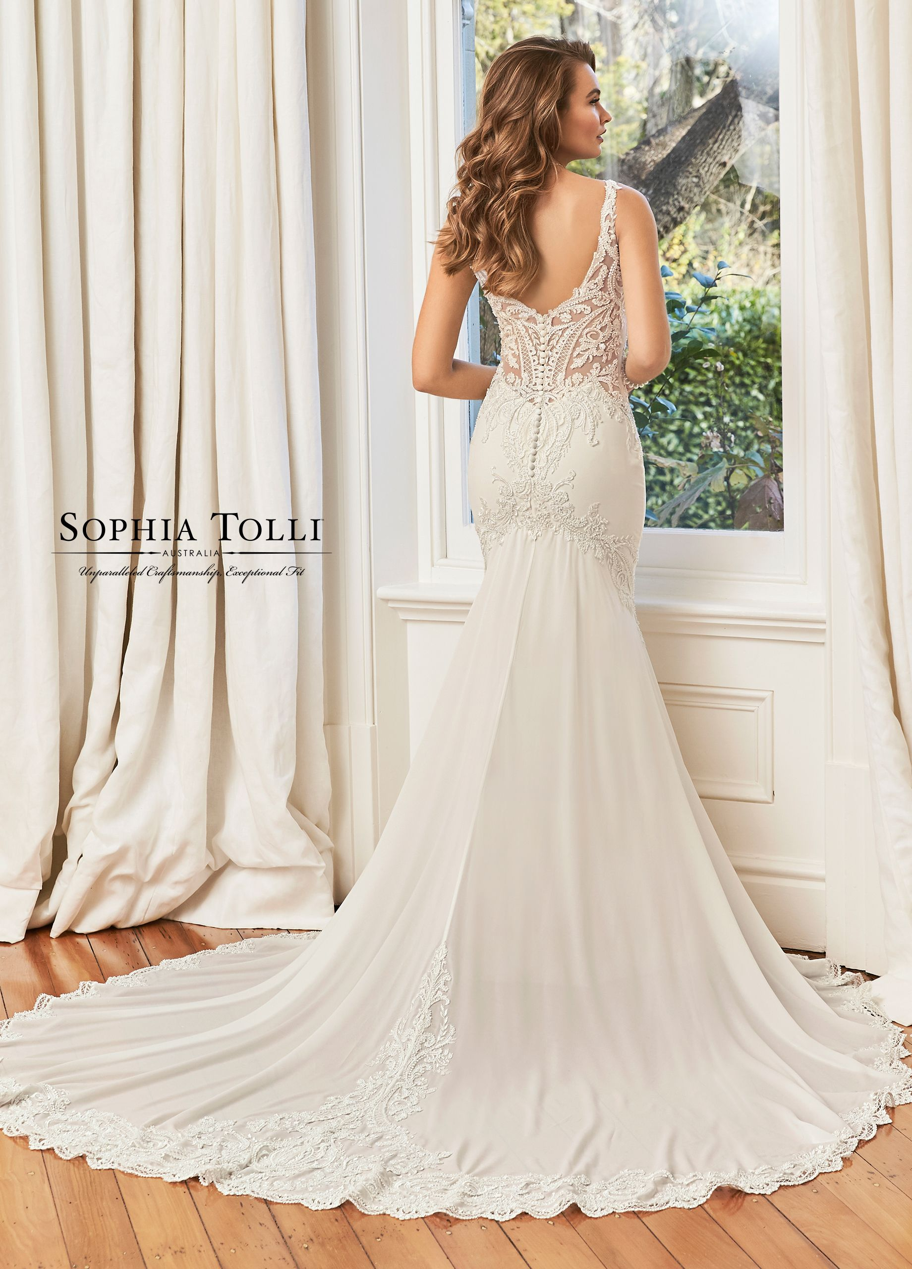 Lace chiffon fit and flare wedding dress y11950 summer
