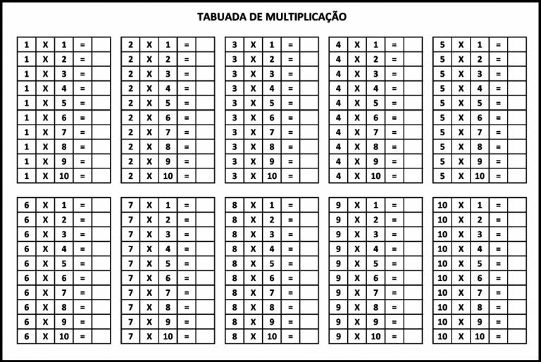 Tabuada Para Imprimir Tabuada Da Multiplicacao Do 1 Ao 10 Sem