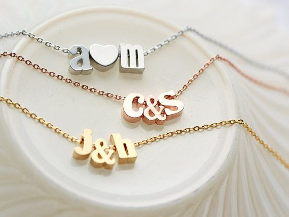 We Love you MOM,Personalized Initial Necklace,Rose Gold,Rose Gold Letter Necklace Custom Personalized Wedding Minimalist Monogram Gift