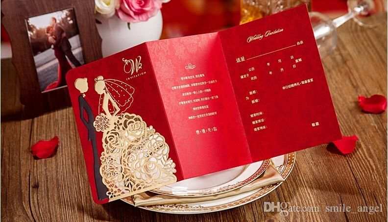 2018 New Personalized Wedding Invitations Cards Red Color With Hollow Lace Gold Dress Bridal And Groom Laser Cut Party Fast Shipment From