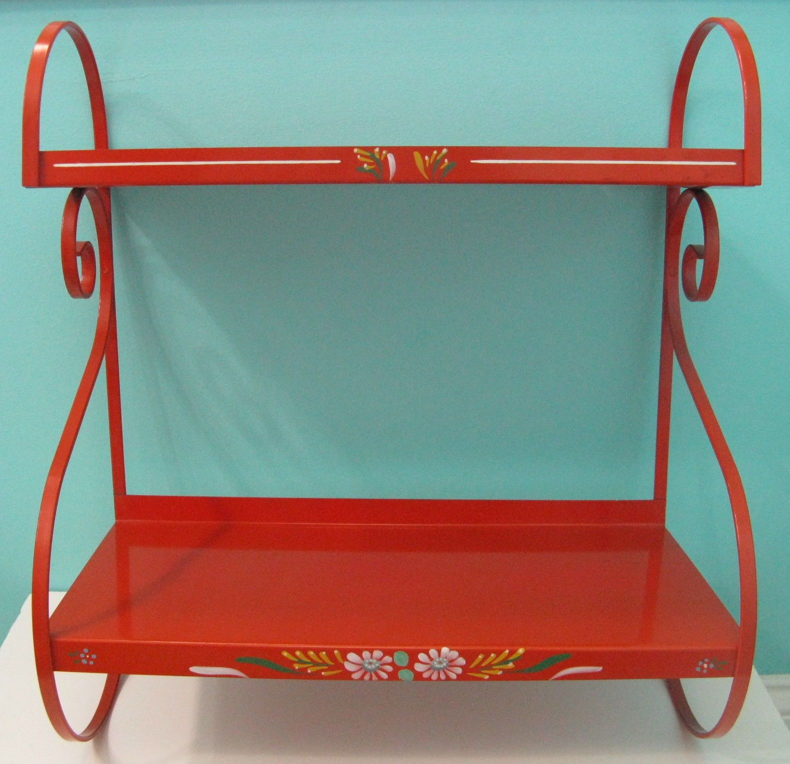 Superb Vintage Ransburg Metal Shelves Large Hanging Shelf Red Interior Design Ideas Clesiryabchikinfo