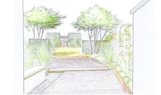 Jardin de ville croquis vue de la maison jeu de terrasse for Croquis jardin