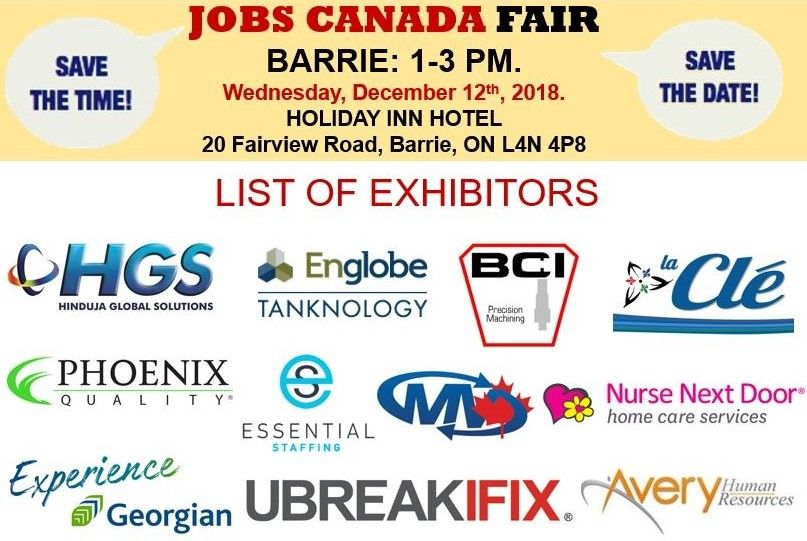 List Of Hiring Companies For Barrie Job Fair December 12th 2018