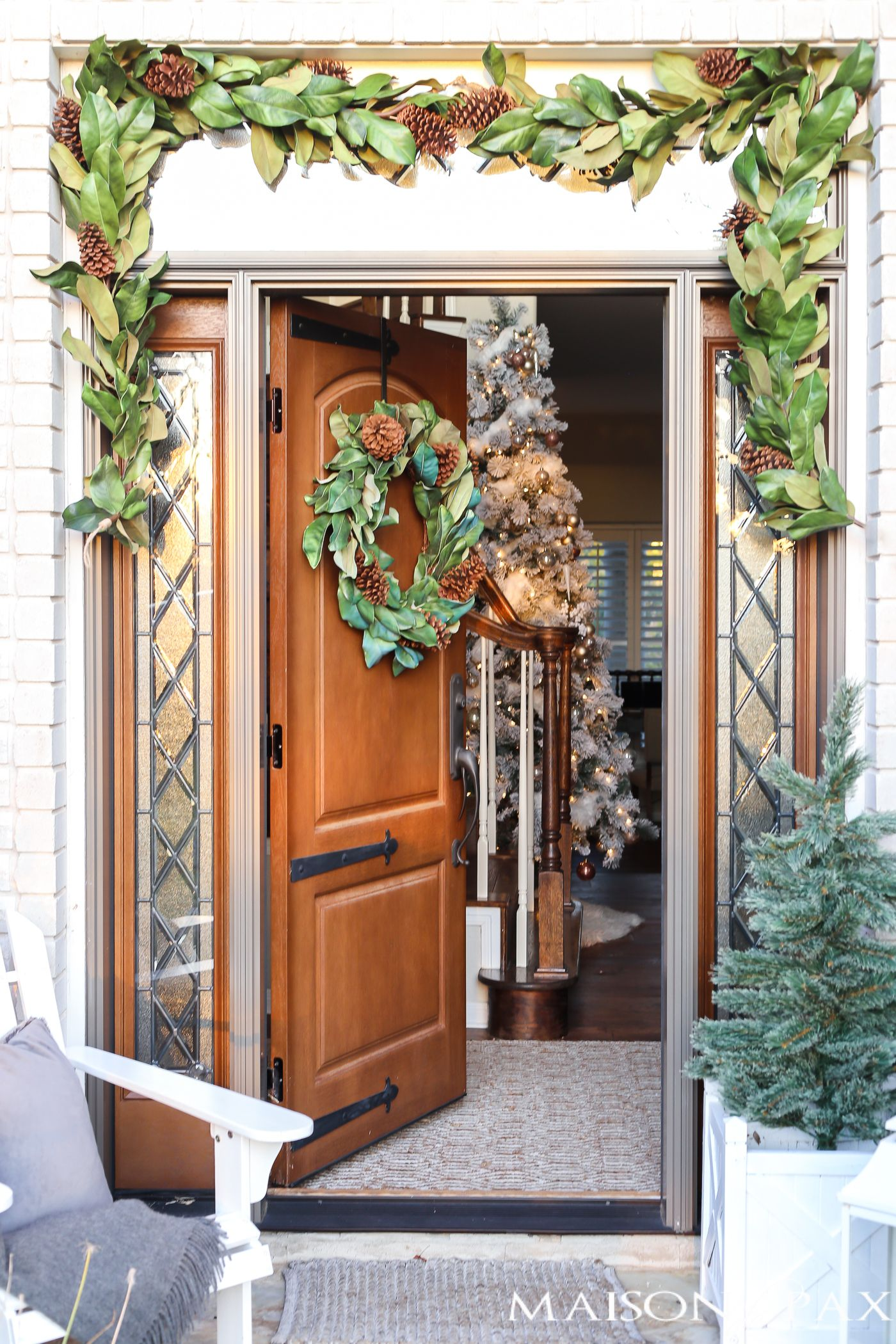Classic Southern Magnolia Christmas Front Porch Christmas Decor