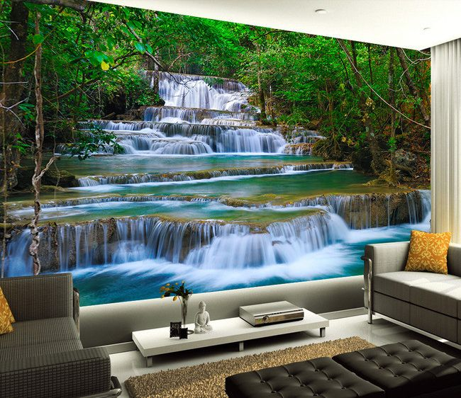 papier peint photo paysage zen cascade dans la for t tropicale papier peint photo paysage. Black Bedroom Furniture Sets. Home Design Ideas