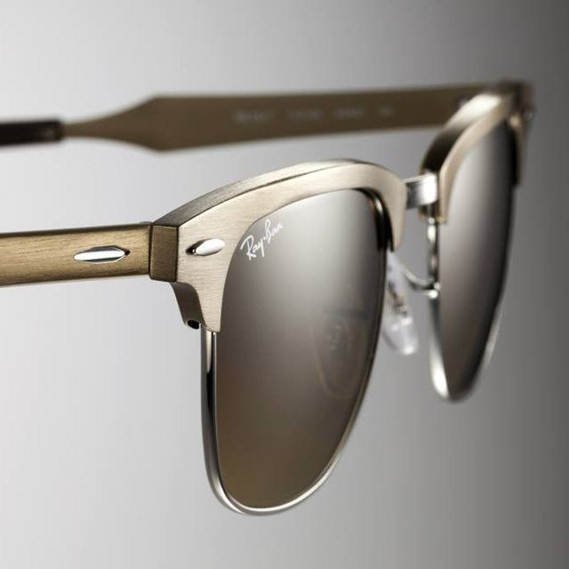 ray-ban brushed metal clubmaster sunglasses