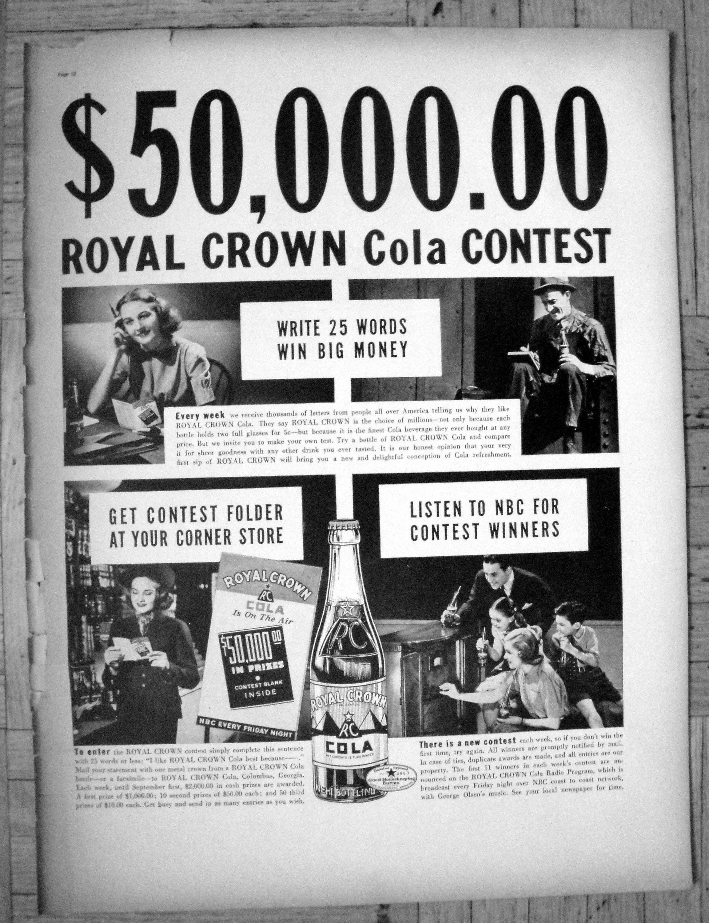 1938 Royal Crown Cola 50,000 Contest Mail-In -Original 13 5