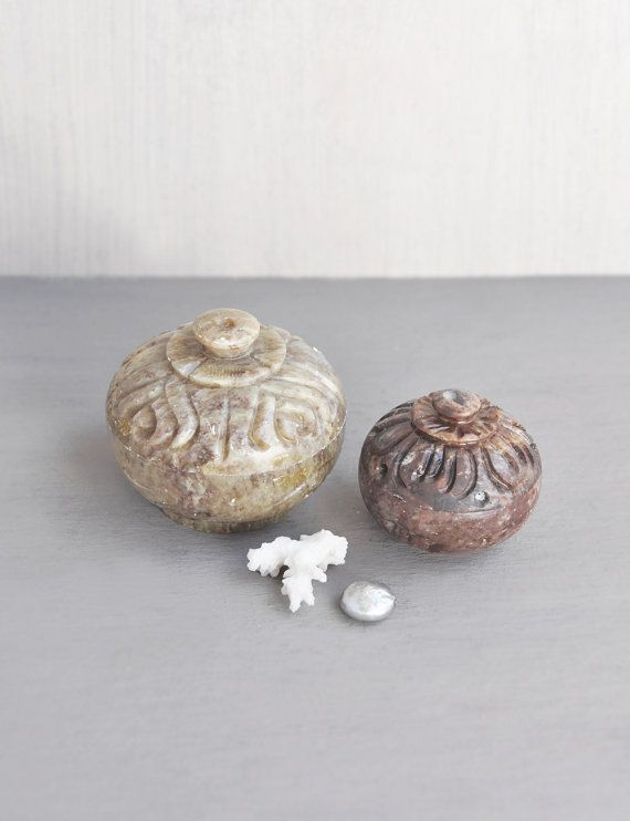2 Vintage Stone Trinket Boxes - small carved round lidded box set  by CuriosityCabinet