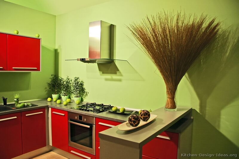 Wonderful Red And Green Kitchen Ideas Part - 2: Complementary Kitchens: Comines Two Colours That Are Opposite To Eachother  On The Colour Wheel.