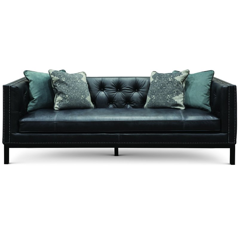Mid-Century Modern Slate Black Leather Sofa - St. James ...