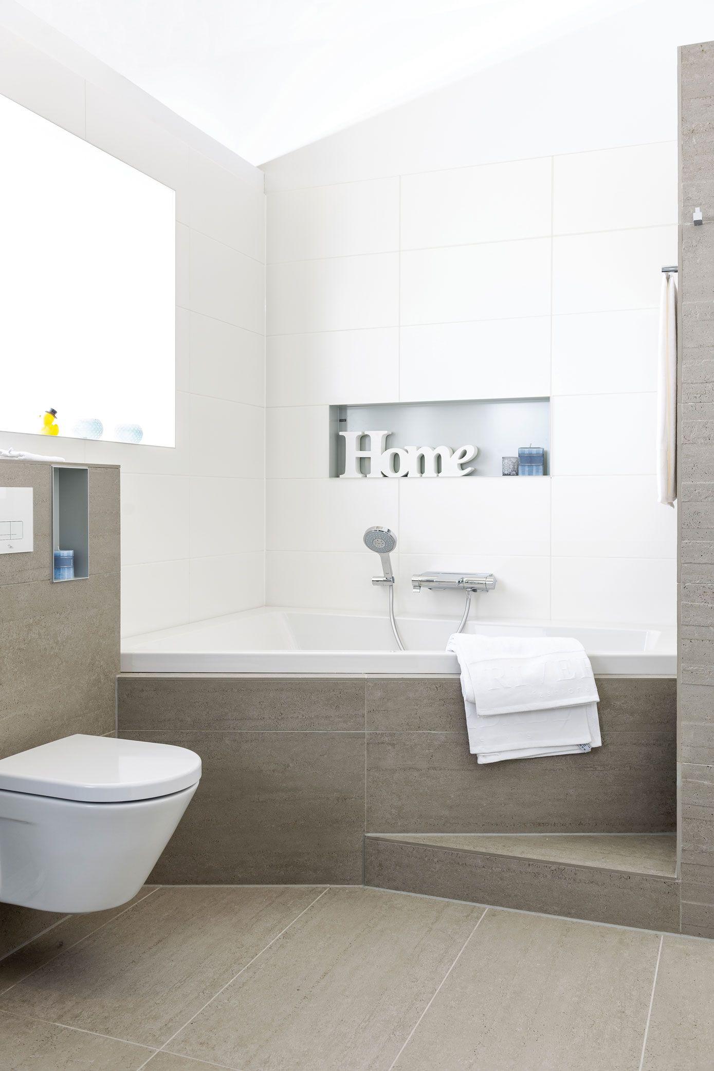 In deze badkamer voelt u zich al snel thuis. Aardetinten en strakke ...