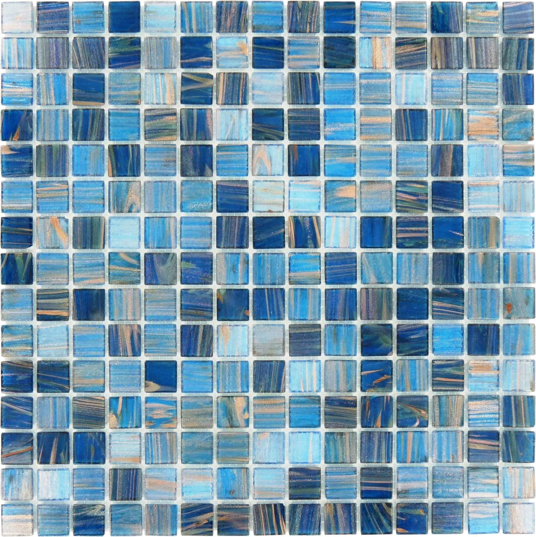 3//4 x 3//4 Glass Glossy Mosaic in Blue Iridescent