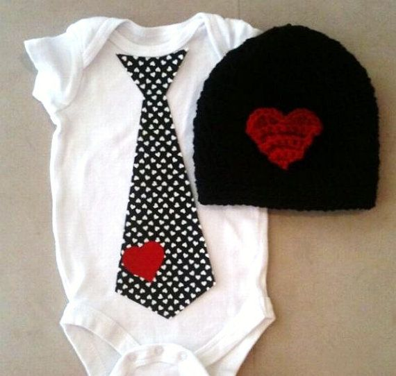 Valentineu0027s Day Outfit For Baby Boys   Heart Tie Onesie And Matching  Crochet Black W/ Red Heart Beanie Hat