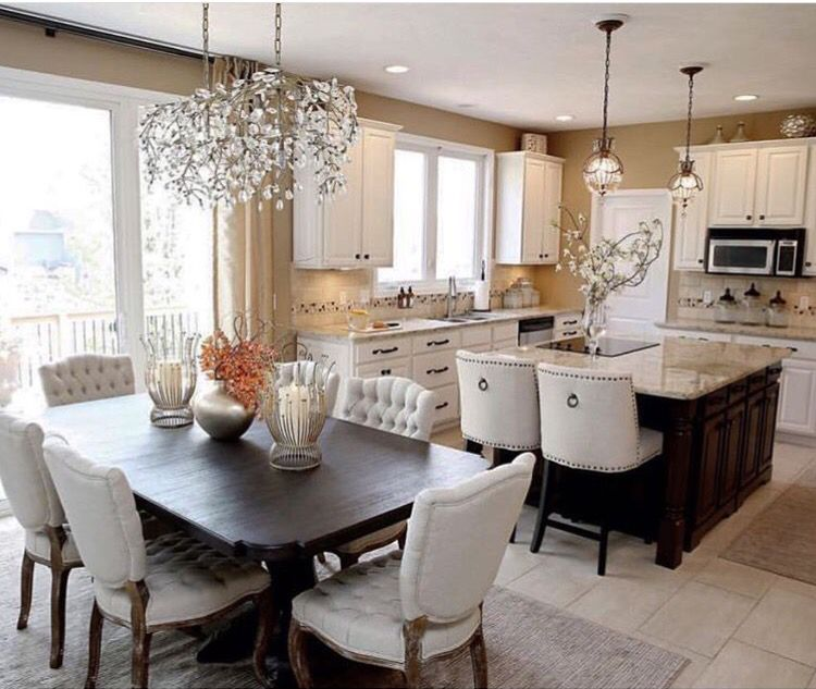 Love The Dining Room Lighting And Counter Stools Kitchen Dining