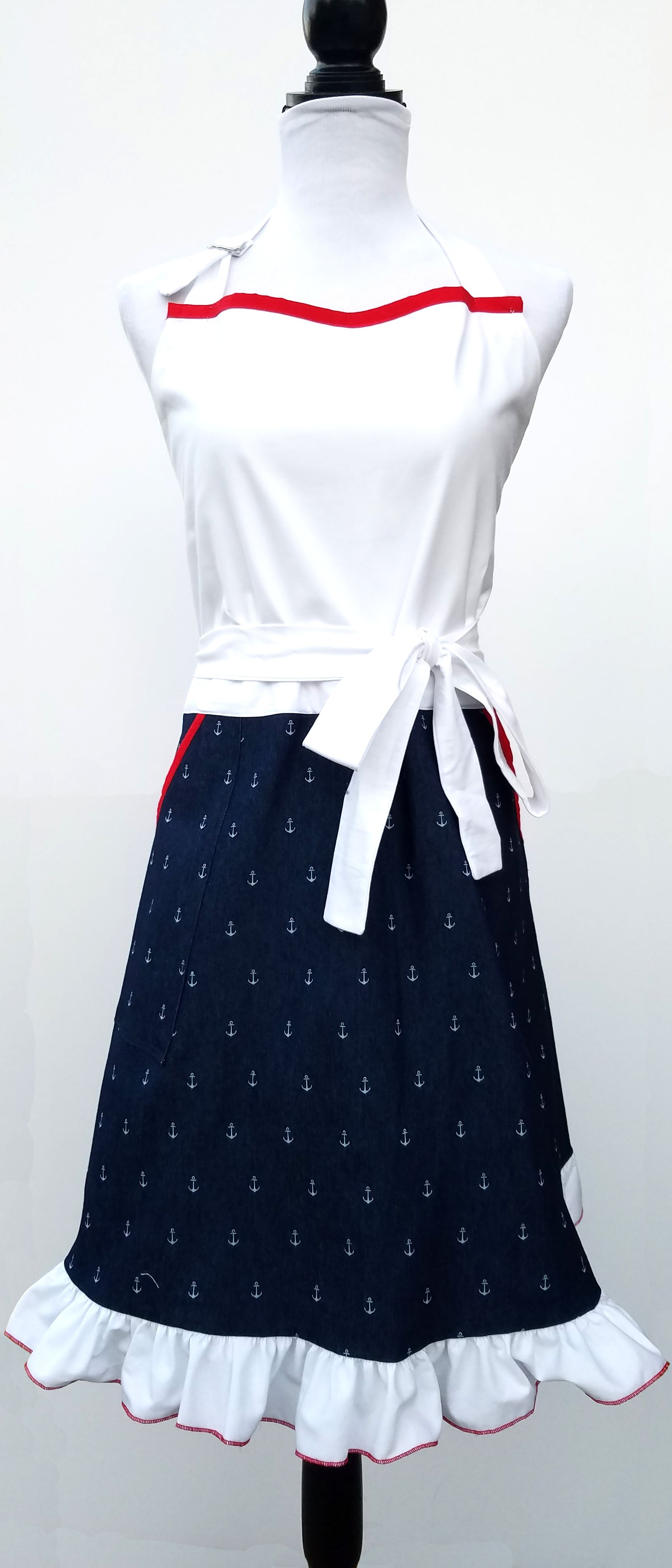 """Welcome Home Sailor!"" Nautical Mid-length Women's Apron Sarah Hall  http://everythingniceaprons.com/apron-store/welcome-home-sailor-nautical-mid-length-womens-apron"