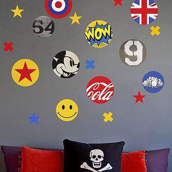 Children\'s Pop Art Fabric Wall Stickers | Wall sticker, Walls and ...